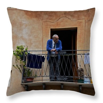 Man On Balcony Throw Pillow