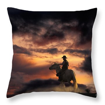 Man On Horseback Throw Pillow by Ron Sanford and Photo Researchers