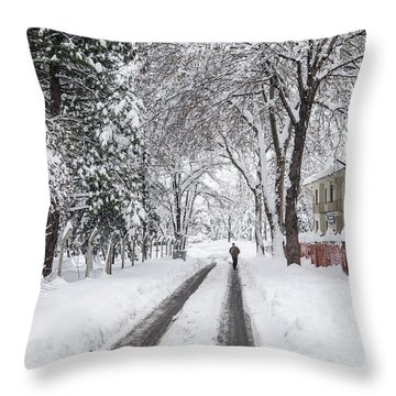 Man On The Road Throw Pillow