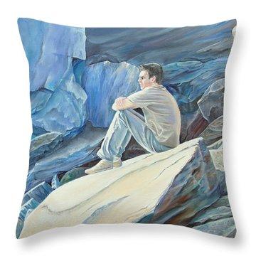 Man On The Rocks Throw Pillow