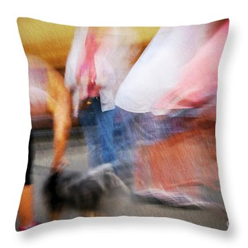 Woman Playing With Dog Throw Pillow