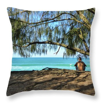 Man Relaxing At The Beach Throw Pillow