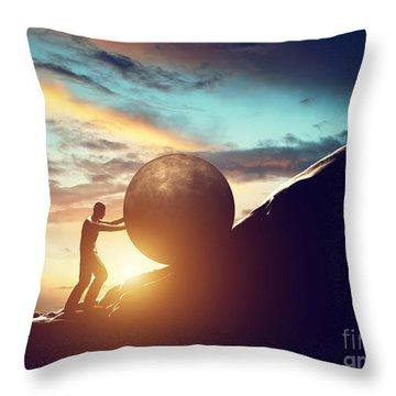 Man Rolling Huge Concrete Ball Up Hill Throw Pillow
