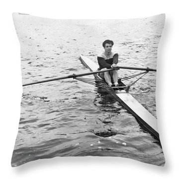Man Rowing A Scull Throw Pillow