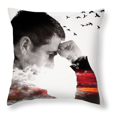 Man Thinking Double Exposure With Birds Throw Pillow