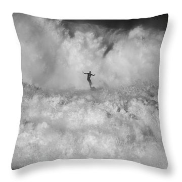 Man Vs Nature Throw Pillow
