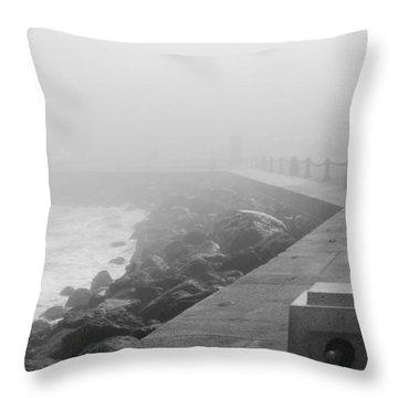 Man Waiting In Fog Throw Pillow