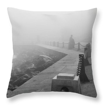 Man Waiting In Fog Throw Pillow