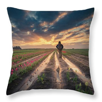 Throw Pillow featuring the photograph Man Watching Sunrise In Tulip Field by William Lee
