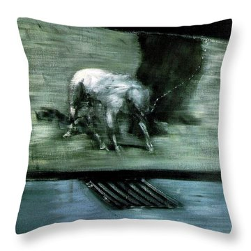 Man With Dog  Throw Pillow