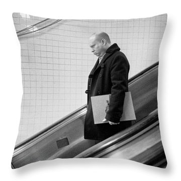 Man With Envelope On Escalator Throw Pillow