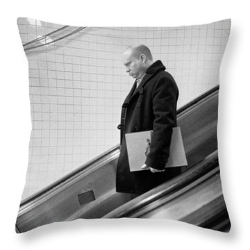 Throw Pillow featuring the photograph Man With Envelope On Escalator by Dave Beckerman