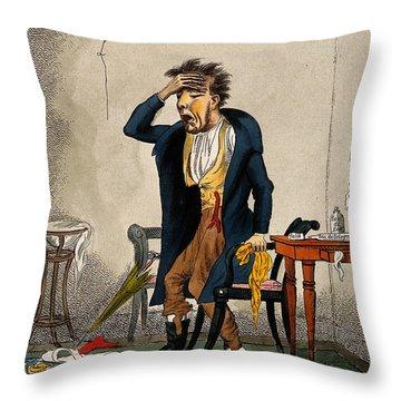 Man With Excruciating Headache, 1835 Throw Pillow
