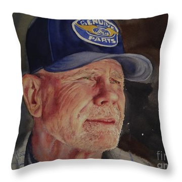 Man With Ford Cap Throw Pillow