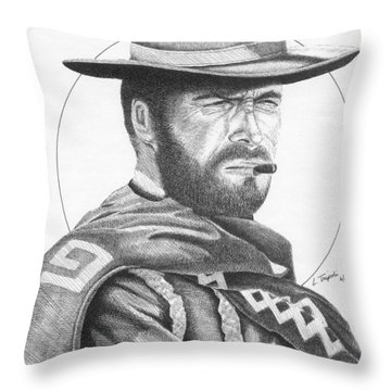 Man With No Name Throw Pillow by Lawrence Tripoli