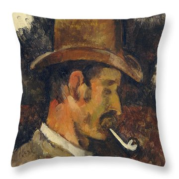 Man With Pipe Throw Pillow