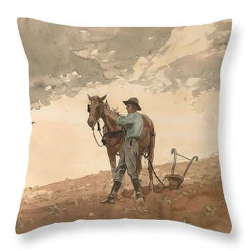 Man With Plow Horse Throw Pillow