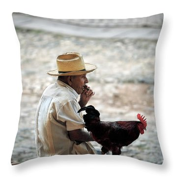 Man With Rooster - Trinidad - Cuba  Throw Pillow