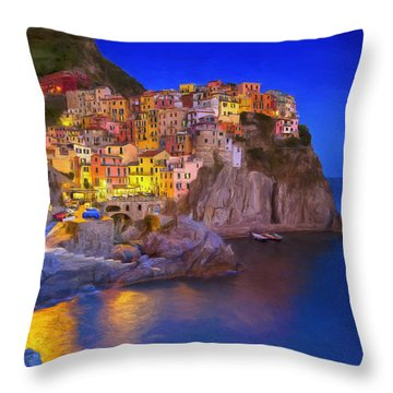 Manarola By Moonlight Throw Pillow by Dominic Piperata