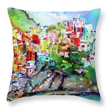 Manarola Cinque Terre Italy Colorful Watercolor Throw Pillow