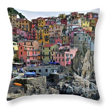 Throw Pillow featuring the photograph Manarola Cinque Terre Italy by Frozen in Time Fine Art Photography