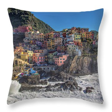 Manarola In Cinque Terre  Throw Pillow