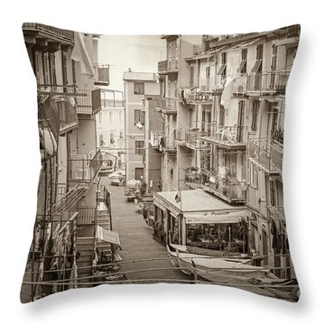 Manarola In Sepia Throw Pillow