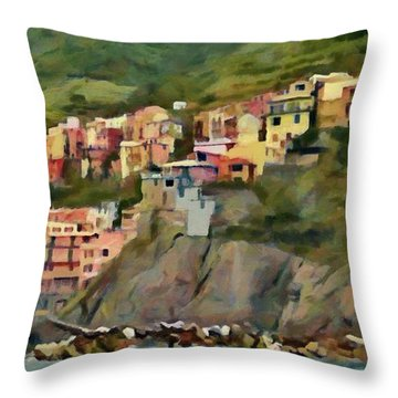 Throw Pillow featuring the painting Manarola by Jeff Kolker