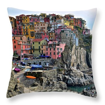 Throw Pillow featuring the photograph Manarola Version Four by Frozen in Time Fine Art Photography
