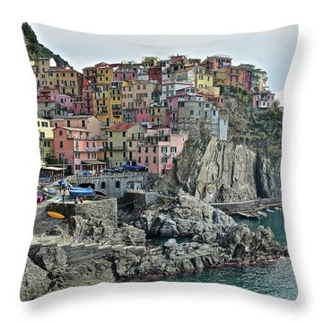 Throw Pillow featuring the photograph Manarola Version Three by Frozen in Time Fine Art Photography