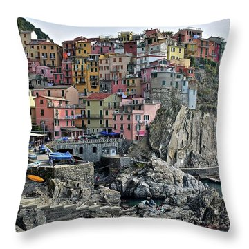 Throw Pillow featuring the photograph Manarola Version Two by Frozen in Time Fine Art Photography