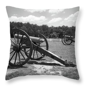 Throw Pillow featuring the photograph Manassas Battlefield 2 Bw by Frank Romeo
