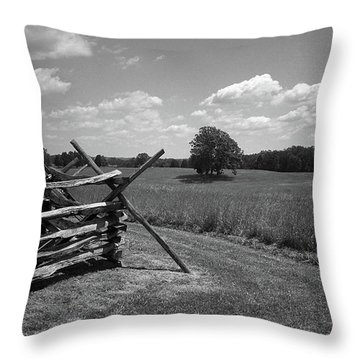 Throw Pillow featuring the photograph Manassas Battlefield Bw by Frank Romeo