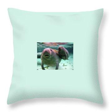 Manatee Mom And Calf Throw Pillow