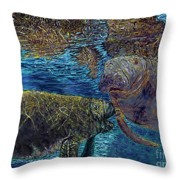 Manatee Motherhood Throw Pillow by David Joyner