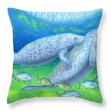 Manatee Spring Throw Pillow by Tim McCarthy