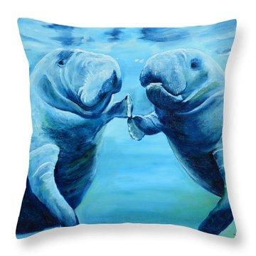 Manatees Socializing Throw Pillow