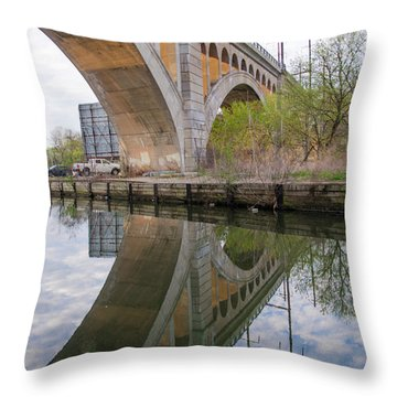 Throw Pillow featuring the photograph Manayunk Canal Bridge Reflection by Bill Cannon