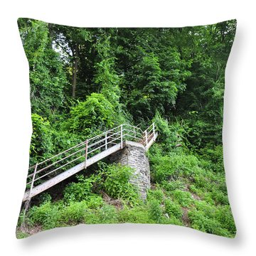 Manayunk - Steps From The Wissahickon Train Station Throw Pillow by Bill Cannon