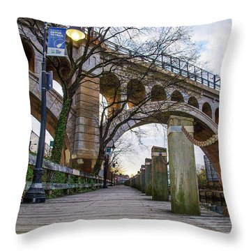 Manayunk - Towpath And Bridge Throw Pillow by Bill Cannon