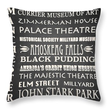 Manchester Famous Landmarks Throw Pillow