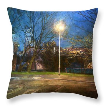 Manchester Street With Light And Trees Throw Pillow