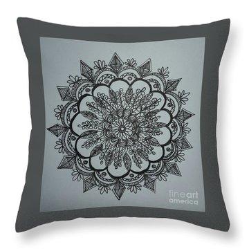 Mandal2 Throw Pillow by Usha Rai