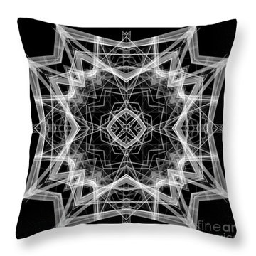Throw Pillow featuring the digital art Mandala 3354b In Black And White by Rafael Salazar