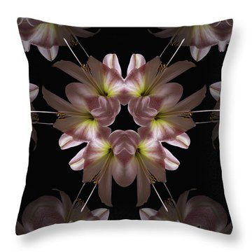Throw Pillow featuring the digital art Mandala Amarylis by Nancy Griswold