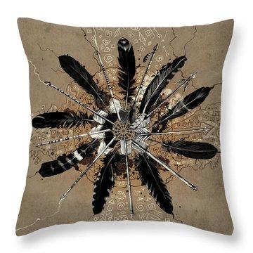 Mandala Arrow Feathers Throw Pillow