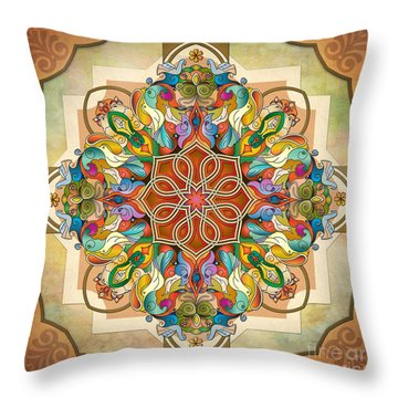 Mandala Birds Throw Pillow by Bedros Awak