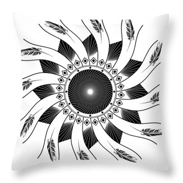 Throw Pillow featuring the digital art Mandala Black And White by Linda Lees