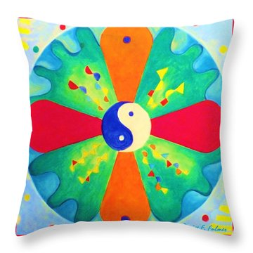 Throw Pillow featuring the painting Mandala by Denise Fulmer