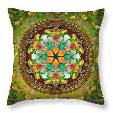 Mandala Evergreen Throw Pillow